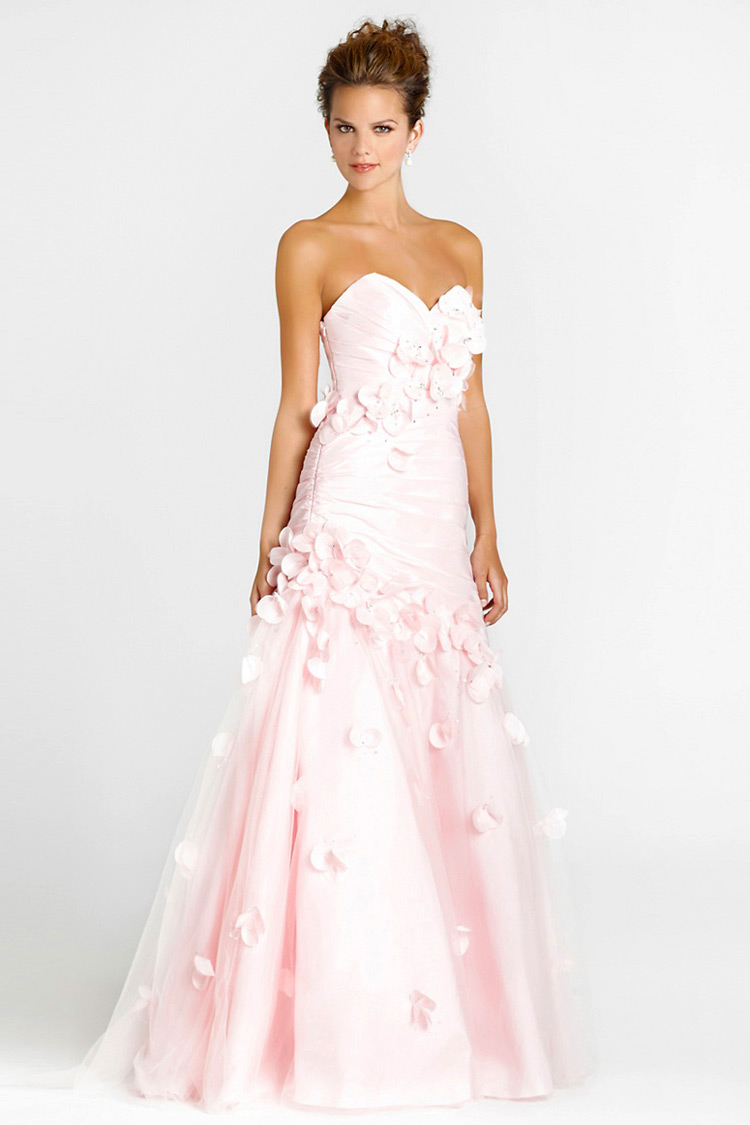 robe soirée bustier rose pale bon prix en ligne