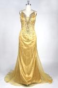 Super robe de cocktail longue dorée ornée de bijoux fantastique