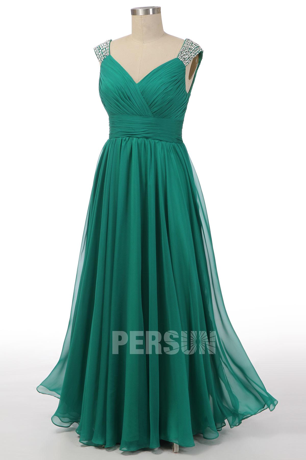 robe de cocktail longue verte plisée empire cache coeur