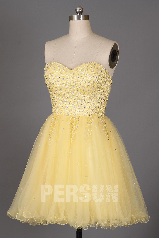 Robe de soirée courte bustier coeur brillant jupe tutu jaune poussin