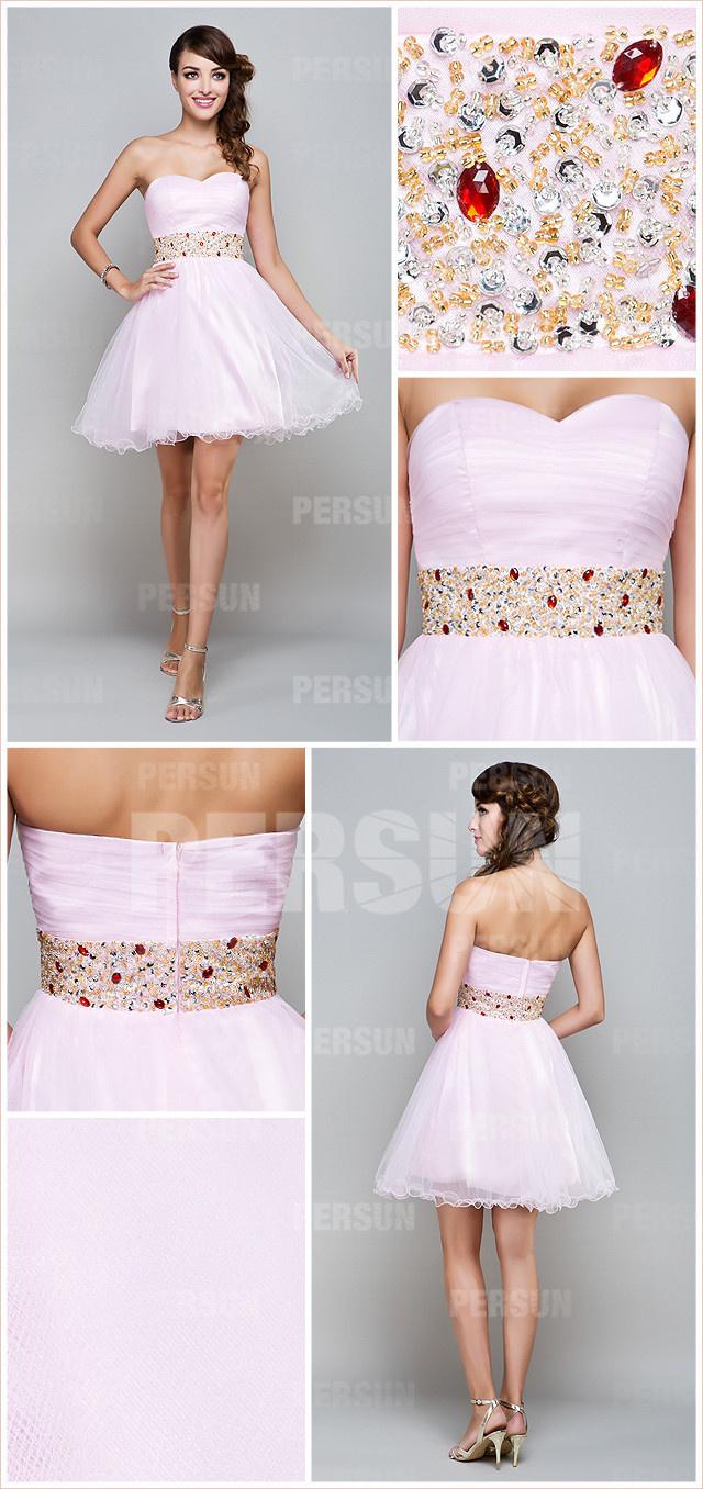 robe de soirée rose courte pour mariage agrémenté de strass