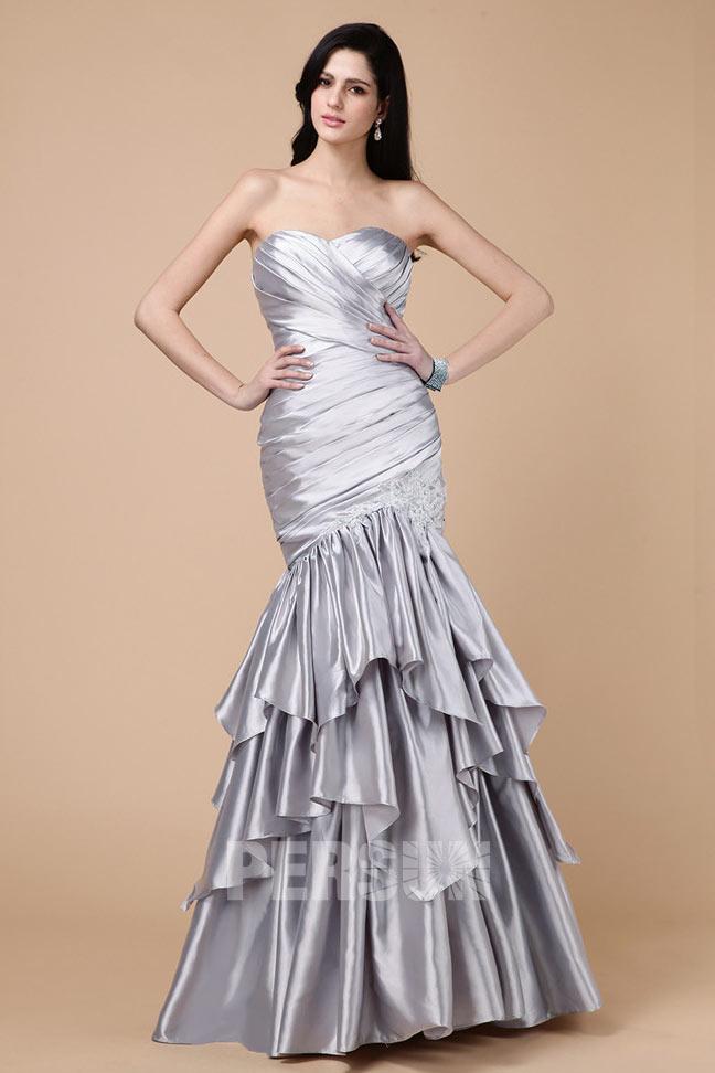 robe soirée argentée sirène en satin bustier coeur à jupe froufrou