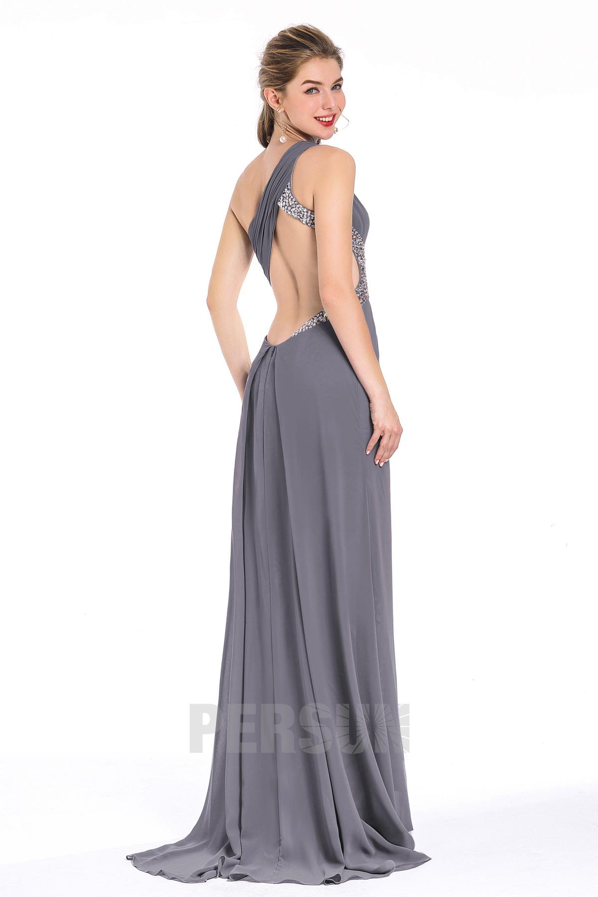 Robe de soirée / bal asymétrique à dos ajouré en Mousseline gris fer petite traîne
