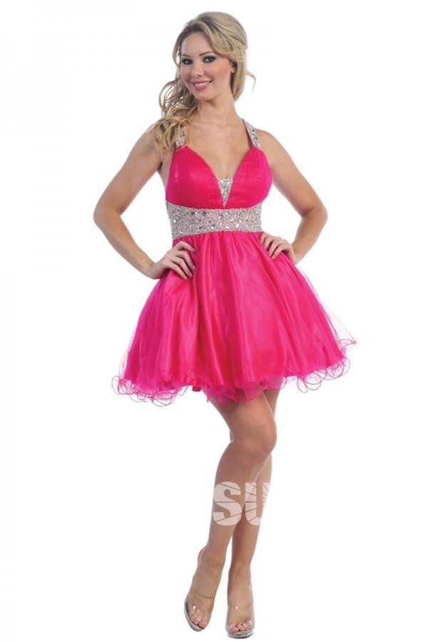 Sexy petite robe bal dos nu fuchsia ornée de strass