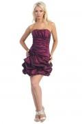 Ruching Applique Strapless Taffeta Short Column Cocktail Dress