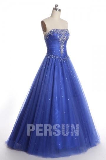 robe de soirée bleu princesse bustier vague embelli de strass