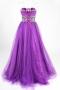 Robe de bal à paillettes en tulle violet violet décolletée en coeur