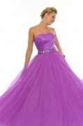 Vintage Purple Tulle Strapless Long Ball Gown Evening Dress