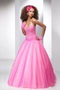 Herz-Ausschnitt Bodenlanges Pink Abendkleider aus Tüll