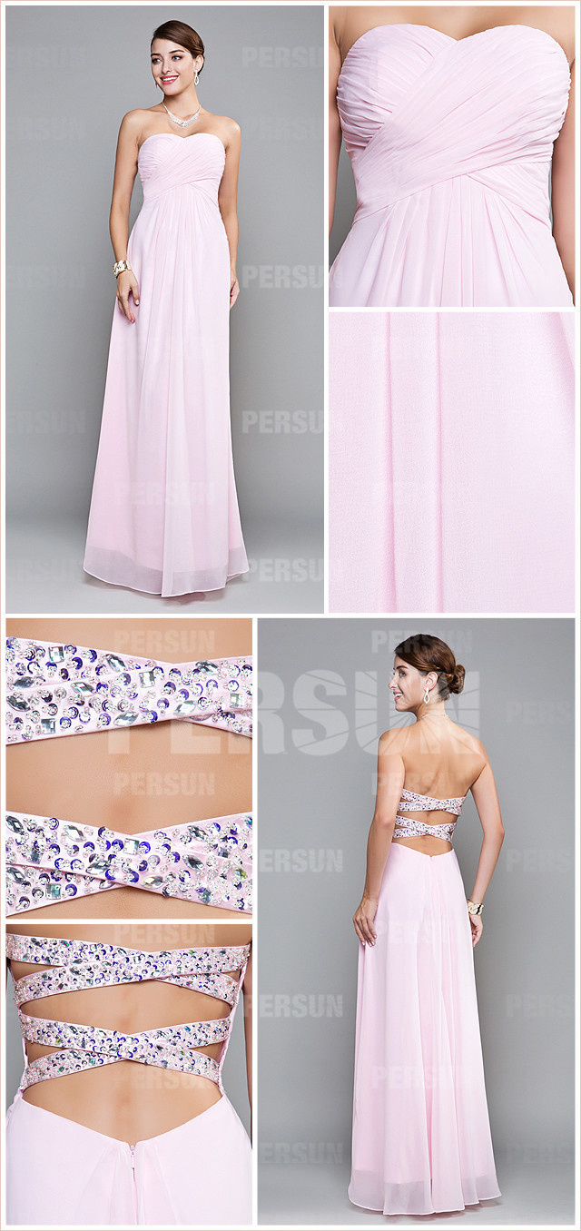 style robe rose pastel à dos nu taille empire mousseline