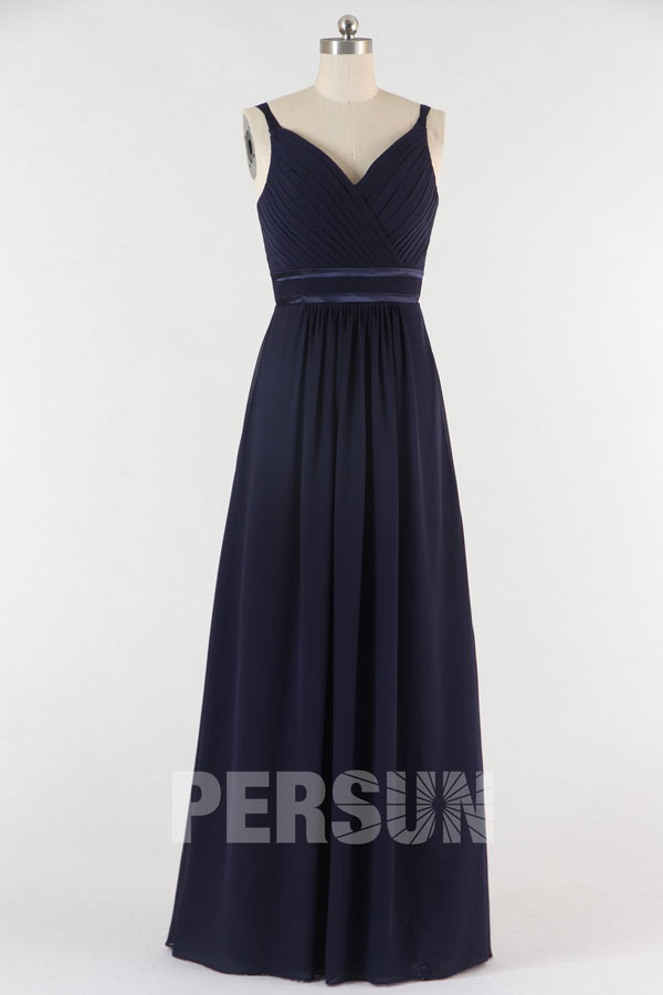 Robe de cocktail longue Mousseline bleu marine