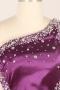 Robe de bal à seule épaule ornée de strass en satin