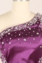 Robe de bal asymétrique ornée de strass en satin