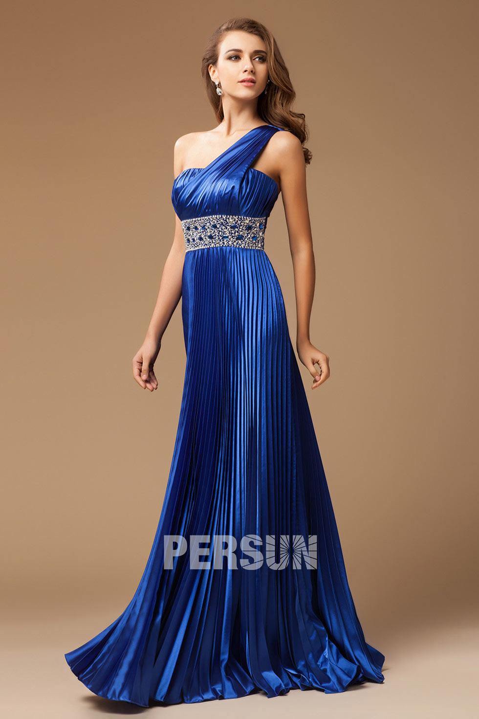 Robe bleu royale asymétrique taille cousue de paillettes plissée longueur sol