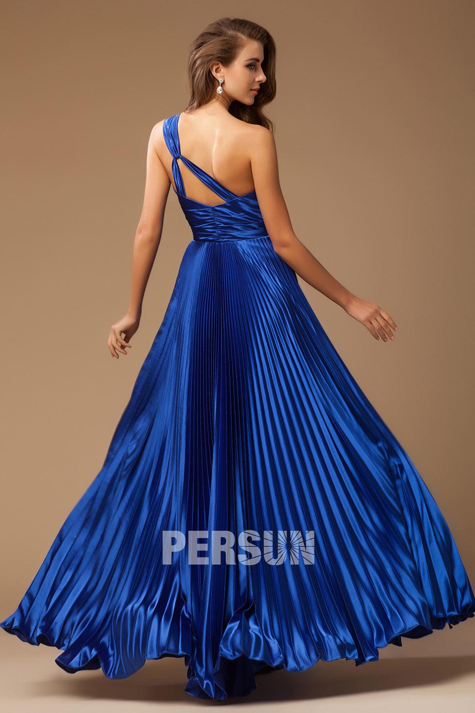 robe chic en royal bleu asymétrique à paillettes pour soirée mondaine satin élastique