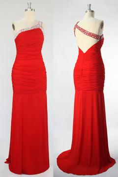 Robe de bal moulante rouge bretelle asymétrique bijouté & dos échancré