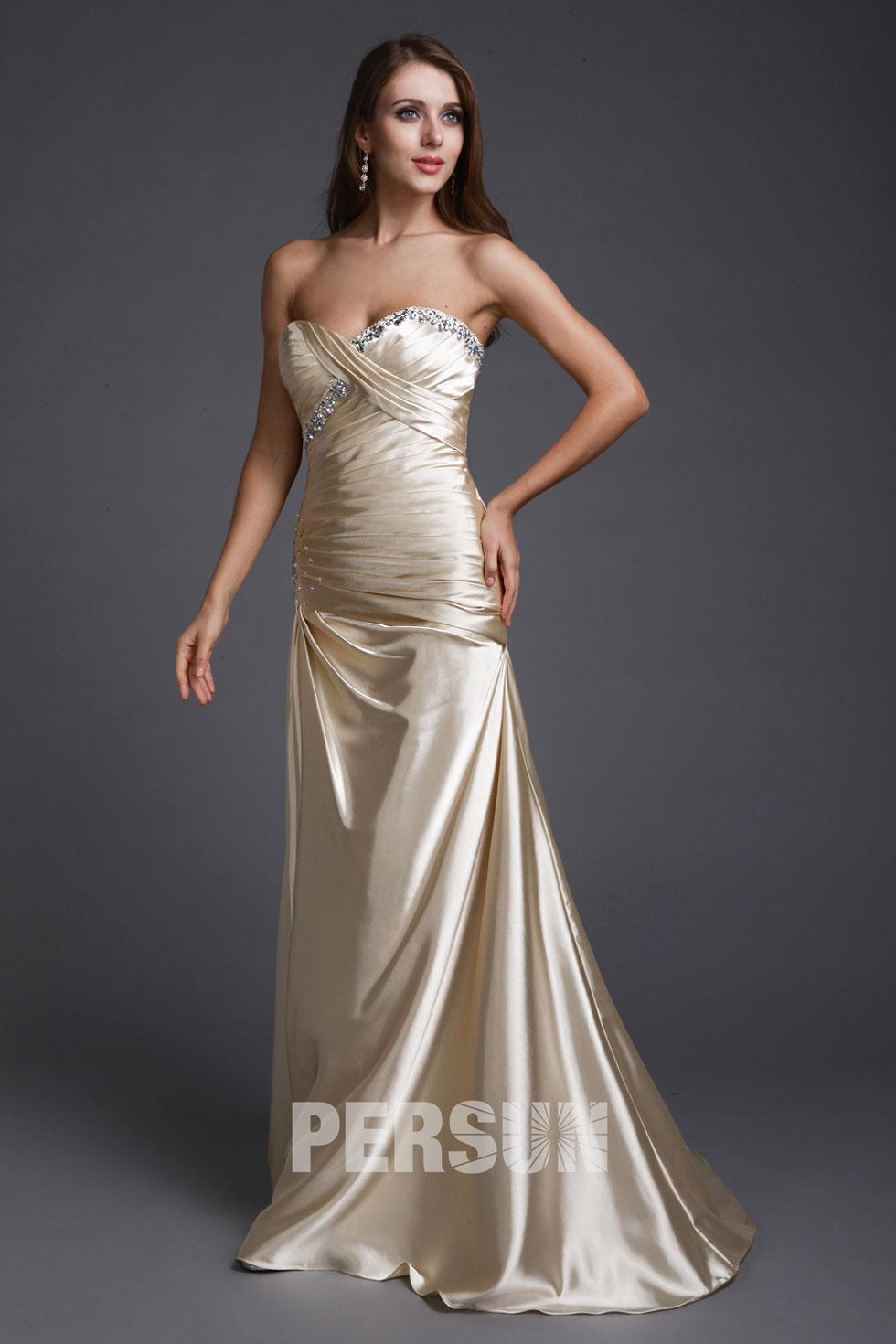robe de fiançailles bustier longue brillante en champagne crème