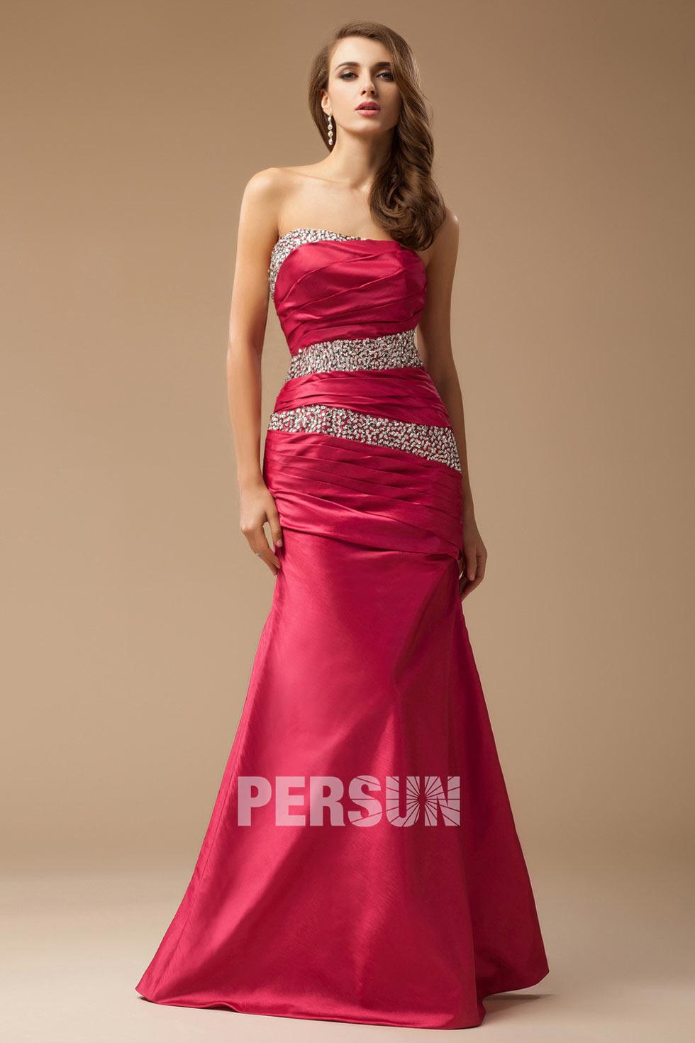 robe bustier droit rouge en taffetas
