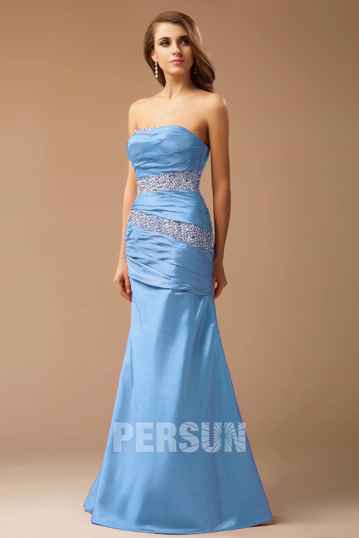 robe de soirée bleu sirène orné de strass en taffetas