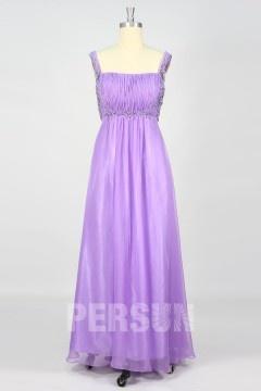 Empire robe de soirée longue en tencel lilas embellie de strass autour du buste