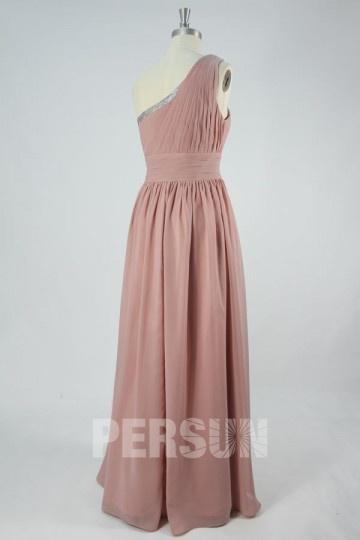 c946045a9be Robe longue vieux rose asymétrique pour soirée de mariage - Persun.fr