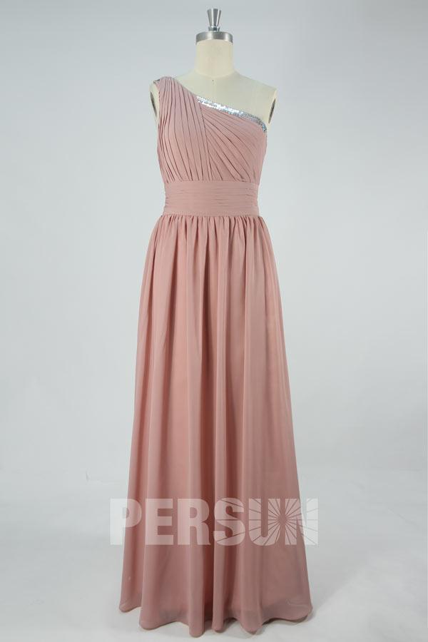 robe demoiselle d'honneur rose longue plissé asymétrique