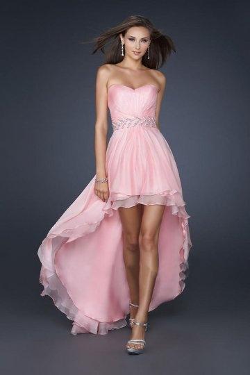 robe de soirée rose courte devant longue derrière bustier coeur en tencel