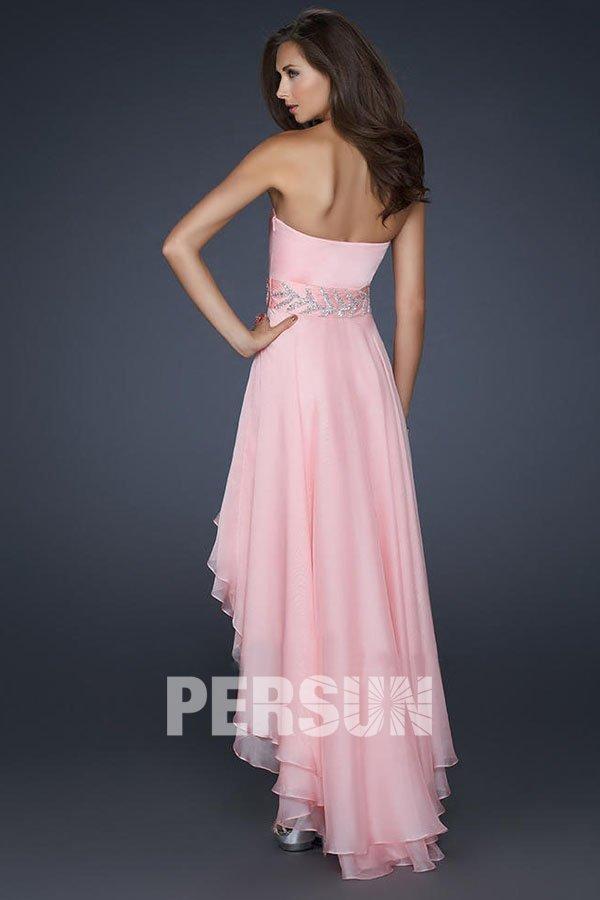 Robe bal rose courte devant longue derrière en tencel