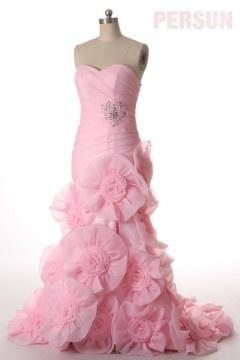 Robe de bal extravagante rose fendue coupe sirène à jupe fleurie