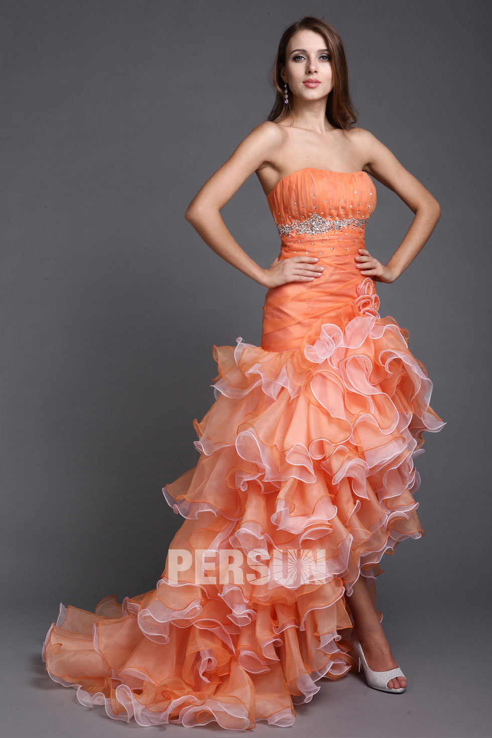 robe cocktail orange en organza bustier
