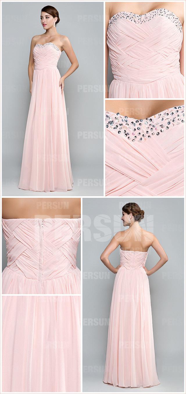 robe demoiselle d'honneur rose longue plissé