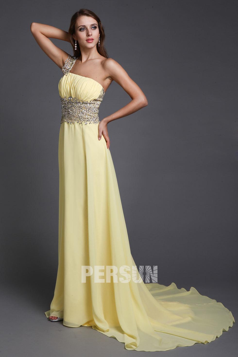 robe bal longue jaune épaule asymétrique