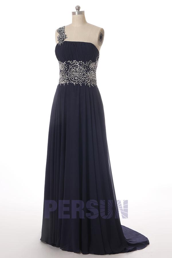 robe cérémonie bleu marine asymétrique empire bustier drapée embelli de strass
