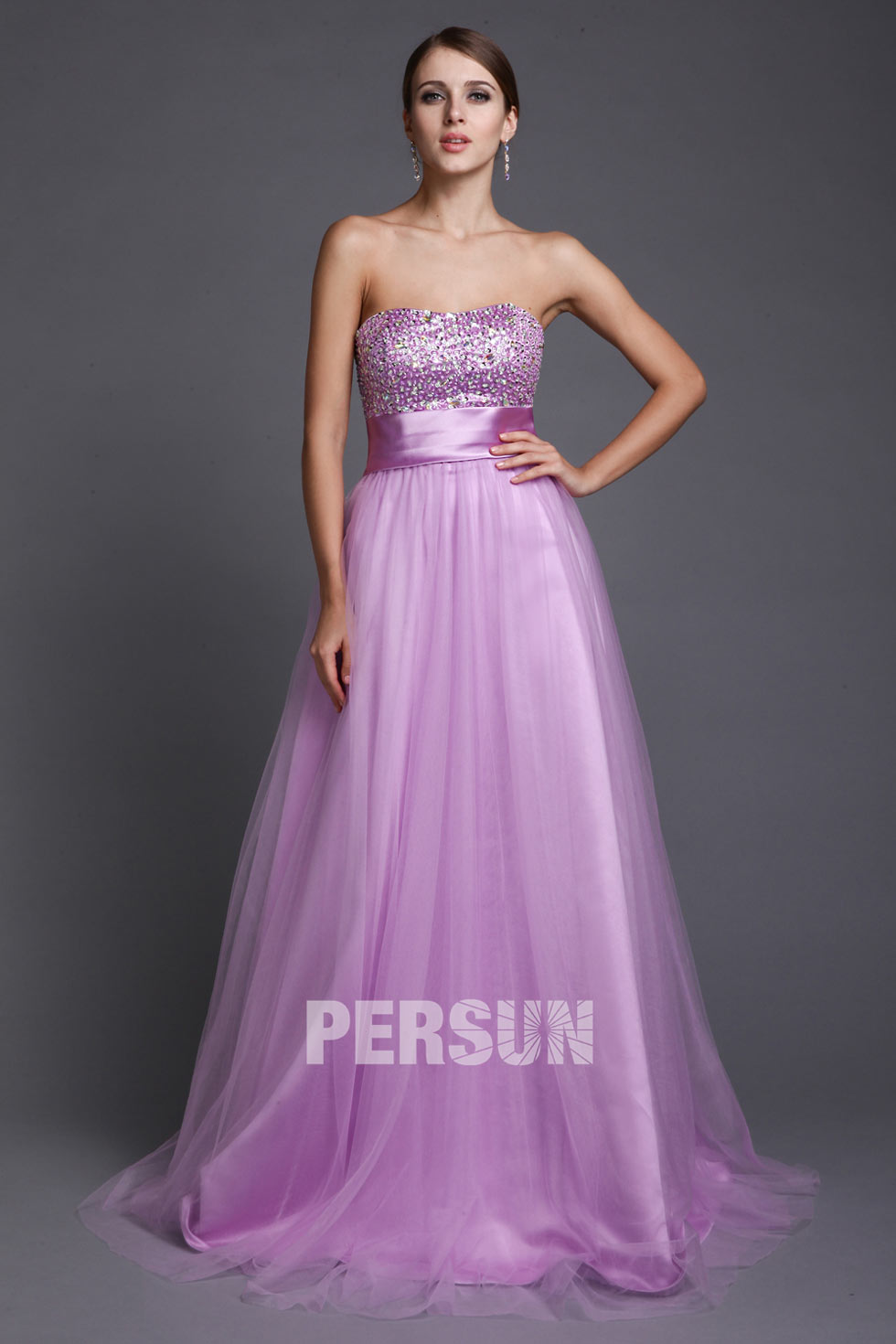 Robe de bal lilac Empire Ligne A décolleté en cœur ornée de paillette