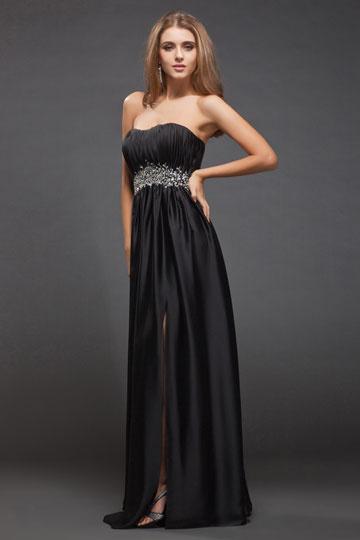 Robe soirée noire Empire sans bretelle avec fente latérale en taffetas