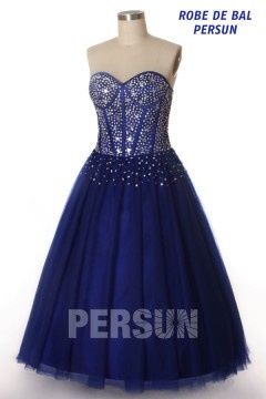 Robe de bal princesse en tulle bleu roi bustier effet corsage