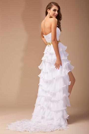 Robe de cocktail Longueuil mousseline Abiball robe de soirée Devant Court Derrière Long 3194