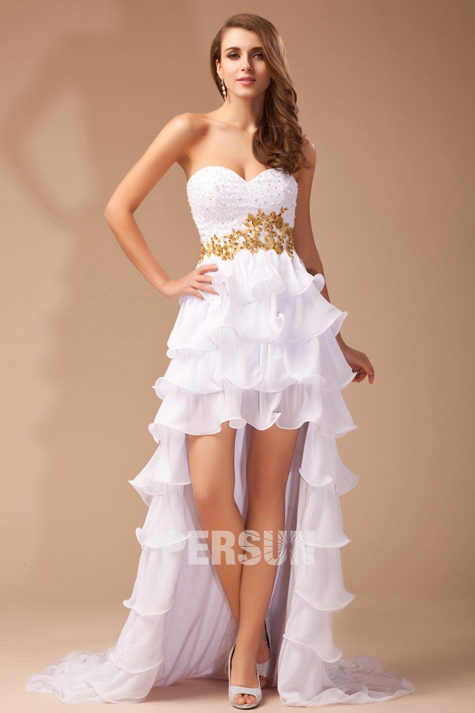 robe blanche à bustier coeur pour cocktail