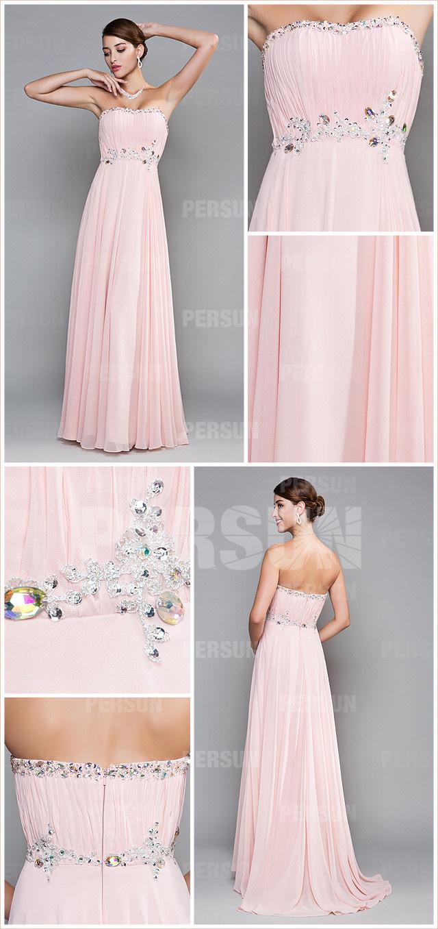 allure robe rose pastel longue empire à bustier cœur pour Noël