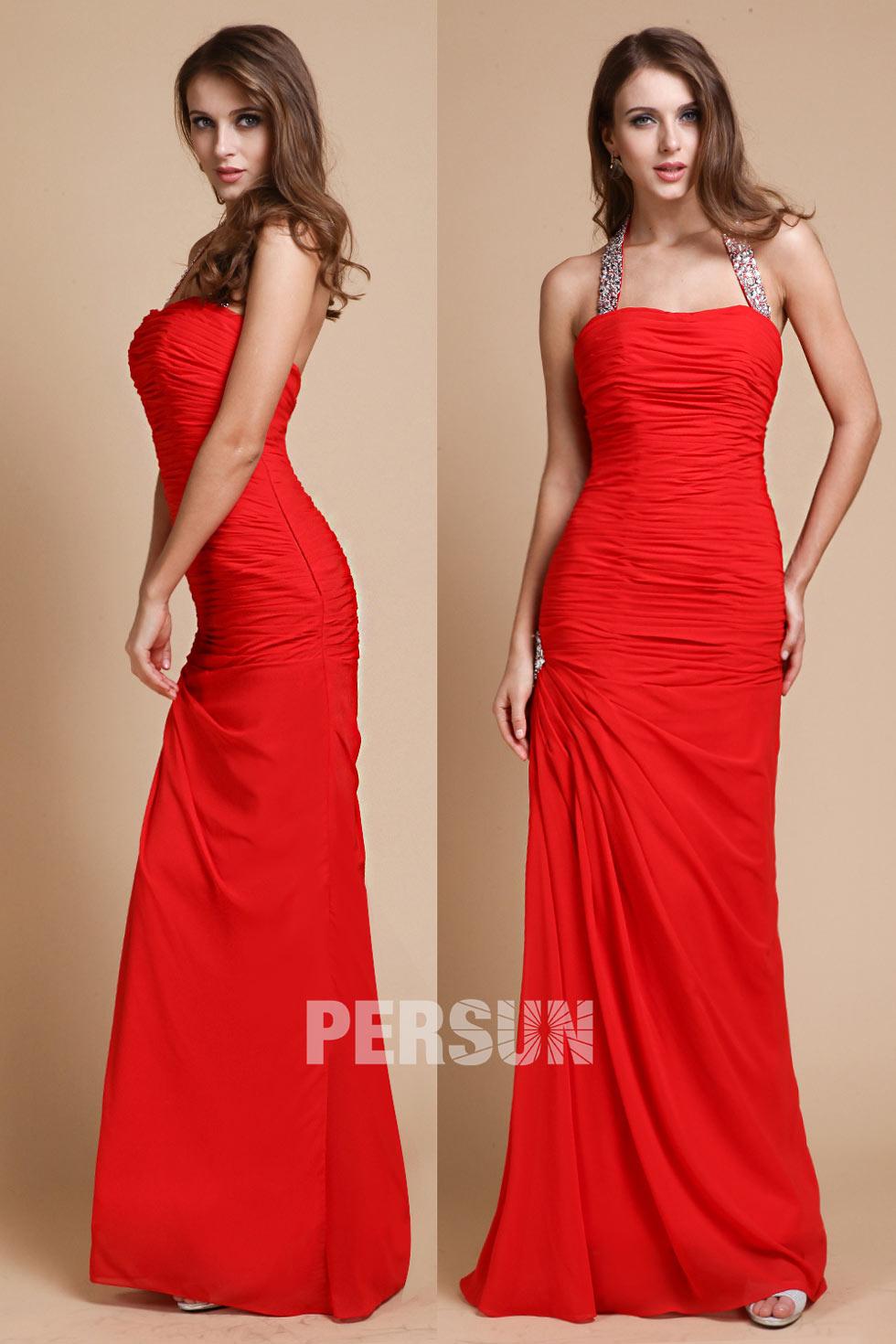 robe de soirée rouge ruchée