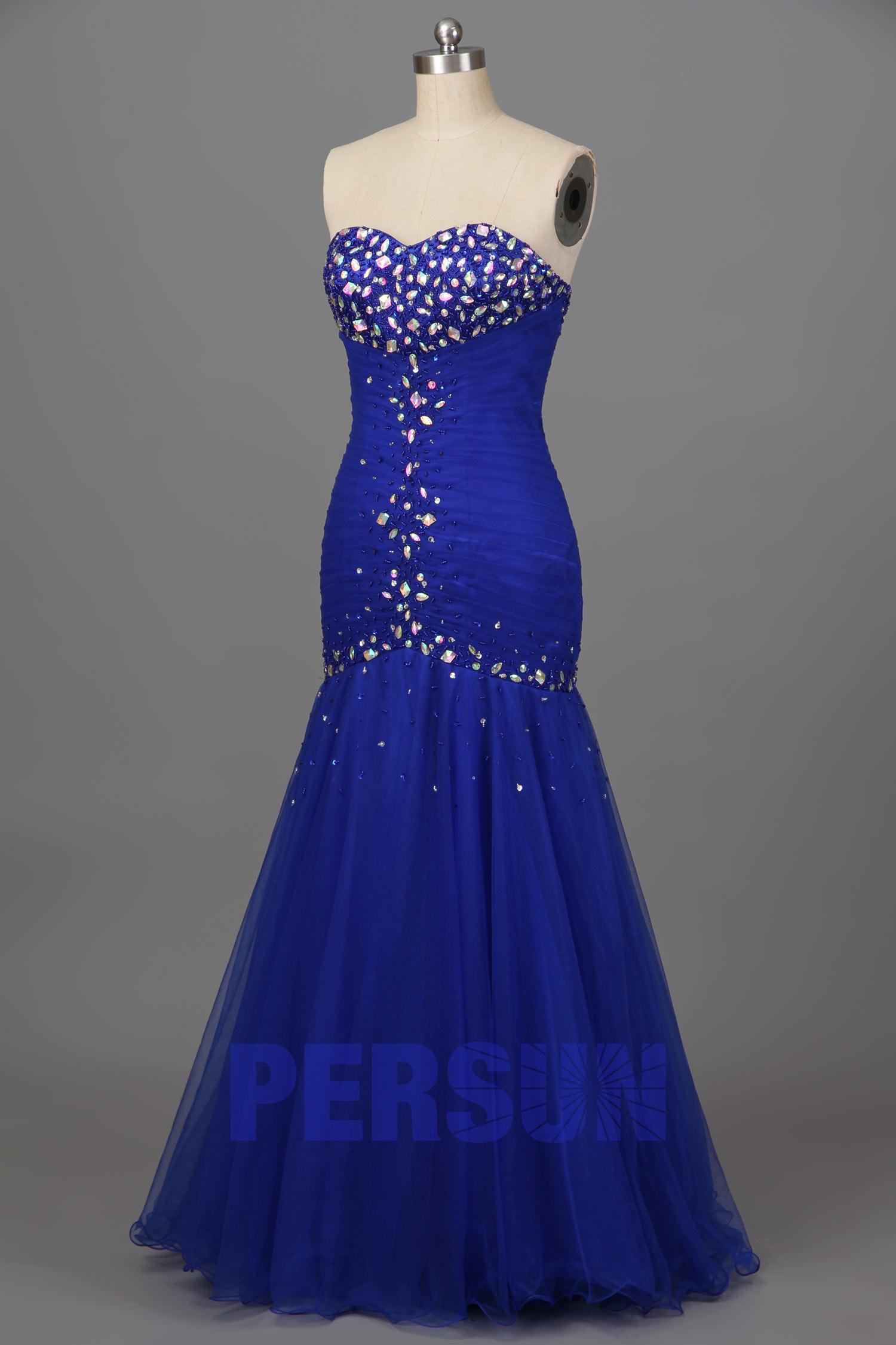 robe de soirée sirène bleu roi bustier coeur embelli de strass ecquis