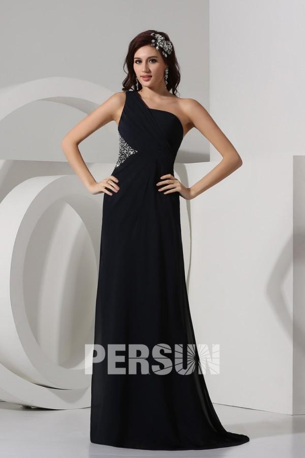 Robe longue noire simple à épaule asymétrique en mousseline dos nu