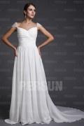 Robe mariée blanche longue simple avec mancheron perlé