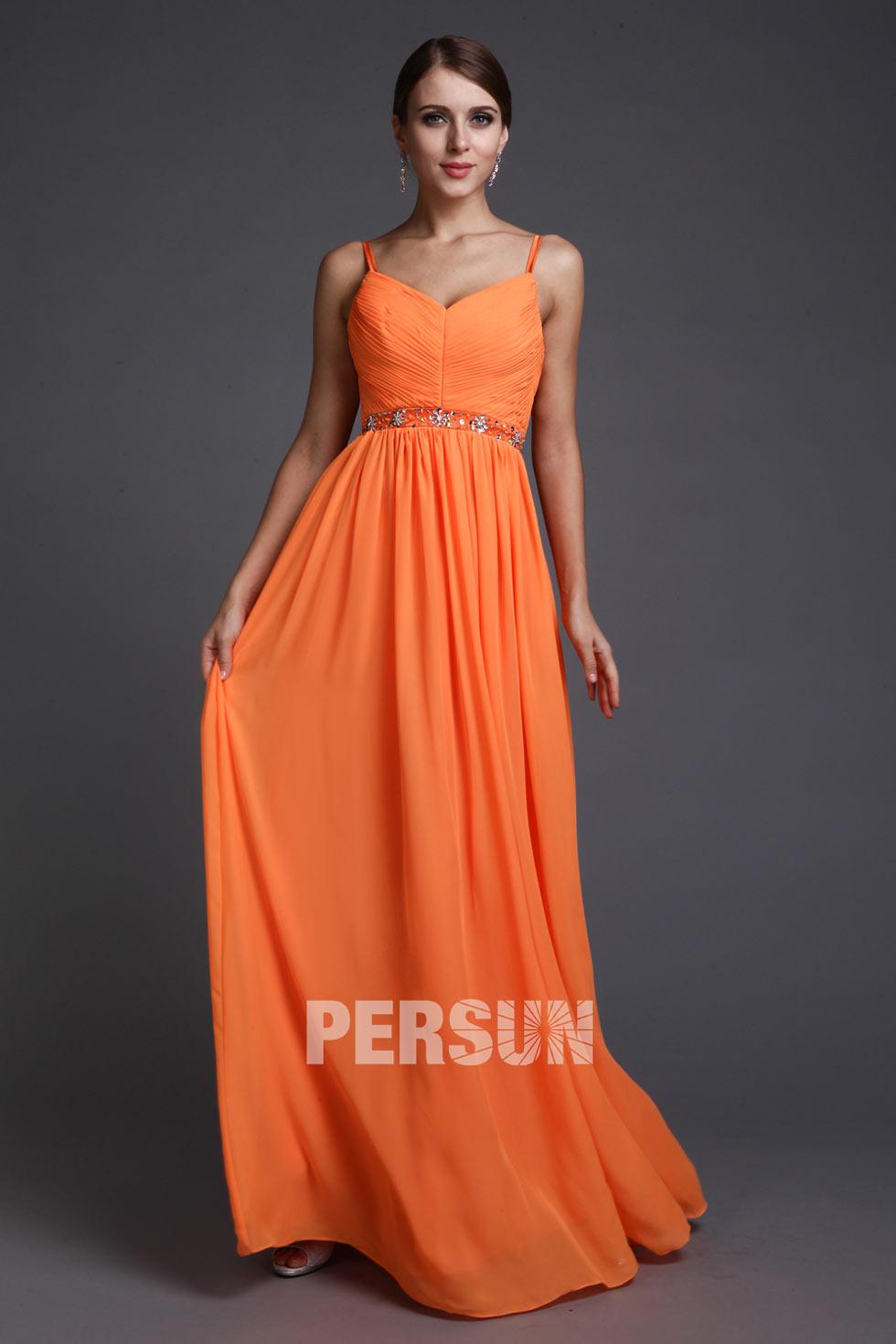 robe de soirée orange avec bretelle en mousseline