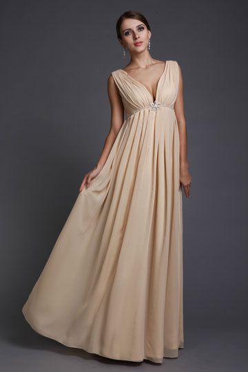 Low V Empire Maternity formal dress in Chiffon champagne