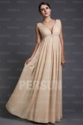 A line Empire V neck Beaded Belts Chiffon Long Formal Dress