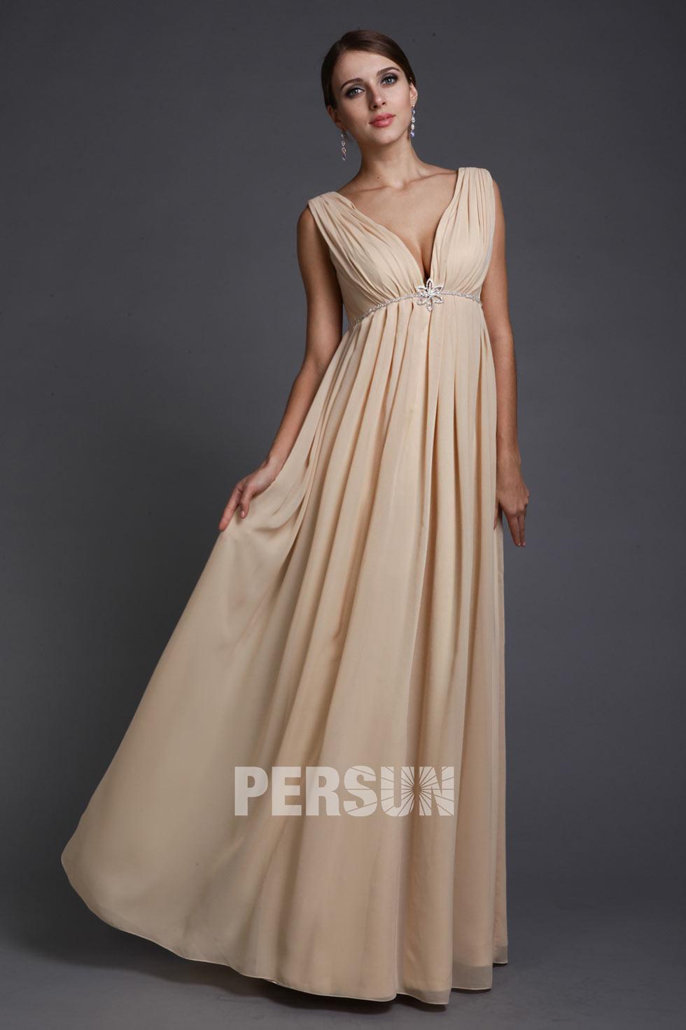 robe de cérémonie longue simple femme enceinte champagne col v plongeant plissé