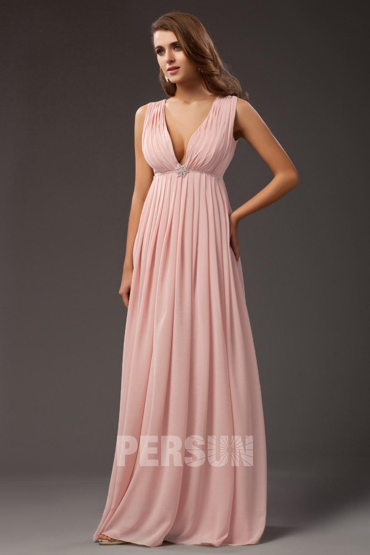 robe de soirée longue empire rose col v plongeant plissé