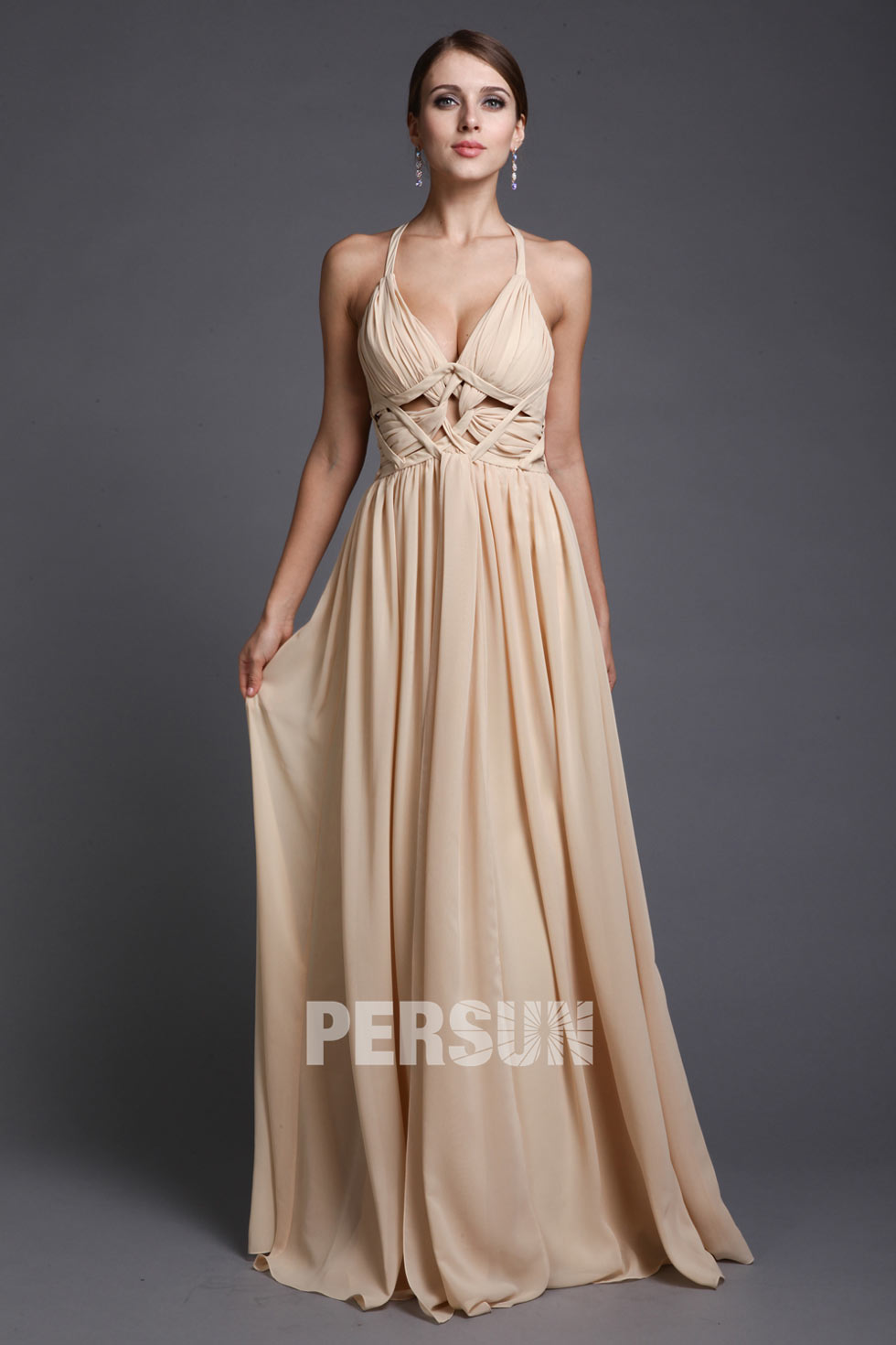 robe sexy soirée champagne col V aux bretelles fines
