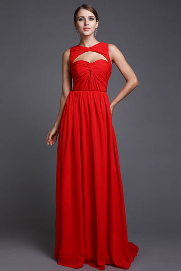 Robe rouge longue pour gala en mousseline simple